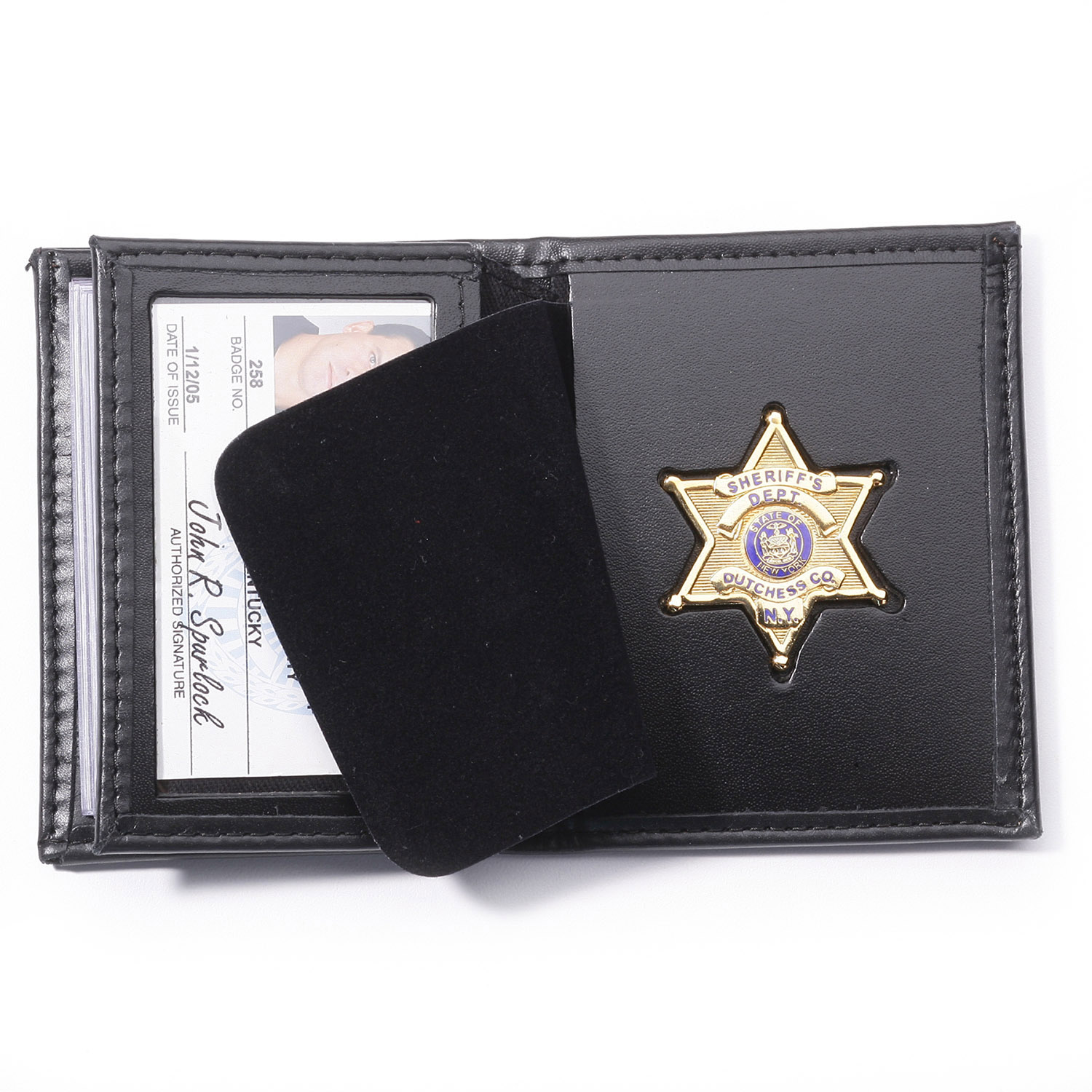 Black 5 Set of Faux Leather Business ID Badge Card Holder