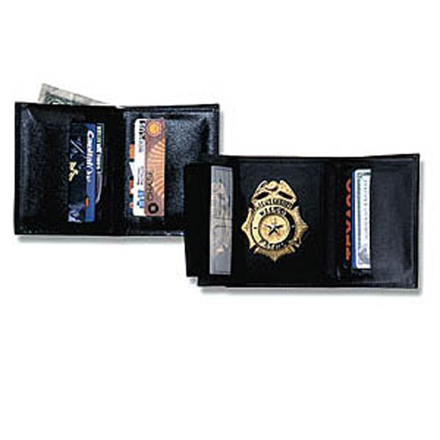 strong tri fold traditional size leather badge wallet with rfid